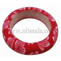 Handmade Polymer Clay Rings,  Crimson,  Size: about 27mm in diameter,  20mm inner diameter,  7mm wide,  4mm thick