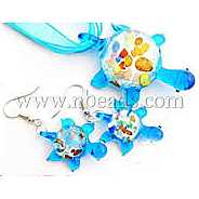Handmade Silver Foil Glass Jewelry Set,  with Gold Sand,  Necklace and Earring,  Turtle,  Cyan,  Size: about 40mm wide