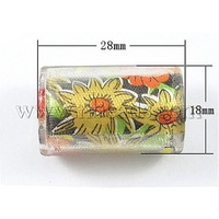 Resin Beads,  with Colth inside,  Column,  Yellow,  Size: about 28mm long,  18mm wide,  14mm thick,  hole: 2.5mm