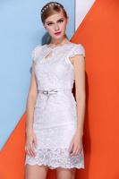 [SALE] Promona Brand White evening slim lace dress 2014 new white summer fashion bodycon short dresses celebrity party