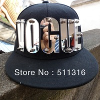 "Stainless steel screw adjustable snap back 2.75"" mirrored acrylic VOGUE Cap letters hand mke ."
