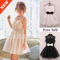 2014 winter dress pearl diamond lapel sleeveless chiffon Slim korean style gauze  Black designer dresses beige tutu Belt Free