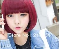 HOT SALE Sexy straight lady bobo Short  Wine Red Fashion Hair Full Wig Club Cutie FREE SHIPPING