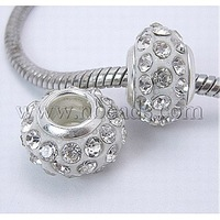 Stock Deals Resin European Rhinestone Beads,  Grade A,  with Platinum Plated Brass Double Cores,  Rondelle,  Clear