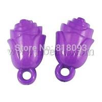 Colorful Acrylic Pendants,  Flower,  Purple,  Size: about 22mm long,  12mm wide,  9mm thick,  hole: 3mm,  440pcs/500g