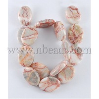 Natural precious stone Beads Strands,  Red Line Jasper,  Oval,  SaddleBrown,  Size: about 17mm long,  13mm wide