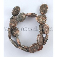 Natural precious stone Beads Strands,  sesame Jasper,  Oval,  Colorful,  Size: about 18mm long,  13mm wide,  4mm thick