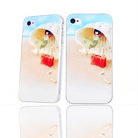 Wholesale/Free shipping/New Fashion cute girl heart painted Design case for iphone 4/4s/High quality/angel case for iphone 4