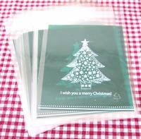 50 pieces chirstmas tree and Santa Claus glue bag 10cm*11+3cm