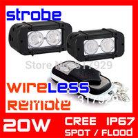 Wireless Remote LED Strobe Light 4.6 Inch 20w CREE  LED Work Light  Bar SUV Truck  ATV Fog Light Auto Offroad Fog External Light