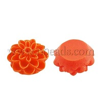 Resin Cabochons,  Ideal For Costume & Headwear and Earring Decoration,  Flower,  OrangeRed,  13x7mm