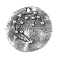 Closeout Alloy Pendants,  Lead Free and Nickel Free,  Flat Round,  Antique Silver,  18x3mm,  Hole: 2mm