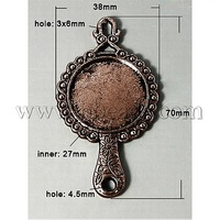 Tibetan Style Cabochon Connector Settings,  DIY Material for Necklace Making,  Lead Free and Cadmium Free,  Mirror