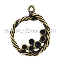 Alloy Pendant Rhinestone Settings,  Lead Free & Nickel Free,  Flat Round,  Antique Bronze,  22x18x3mm