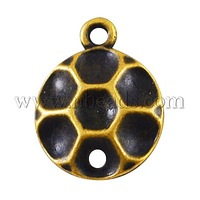 Alloy Cabochon Connetor Settings,  Lead Free,  Antique Golden,  16x13x3mm,  Hole: 2mm,  fit for 4mm Rhinestone