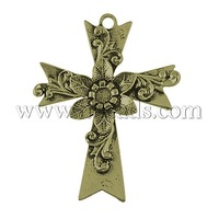 Closeout Tibetan Style Pendants,  Lead Free & Nickel Free,  Cross,  Antique Bronze,  76x58x6mm,  Hole: 5mm