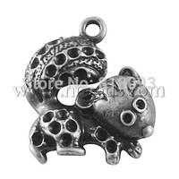 Tibetan Style Pendants,  Lead Free,  Squirrel,  Antique Silver,  23x22x4mm,  Hole: 2mm