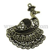 Tibetan Style Pendants,  Lead Free,  Peacock,  Antique Bronze,  55x42x7mm,  Hole: 2mm