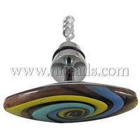 Closeout Steel Bottle Openers,  with Lampwork Head,  Horse Eye,  Colorful,  Size: about 60mm wide,  100.5mm long,  20mm thick