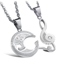 Wholesale new Fashion Accessories Jewelry Gifts Yin and Yang Taiji Collage Titanium Lovers Pendant Necklace for Men and Women