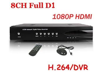 free shipping CCTV 8CH Full D1 H.264 DVR Standalone Super DVR Security System 1080P HDMI Output DVR ,dvr recorder