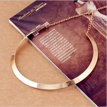 Fashion Making simple shape metal texture collar necklace (narrow version of gold) Free Shipping 2013 New necklace Jewelry(China (Mainland))