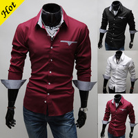 Free gift 2013 Hot Men's Shirts,Fashion Shirt,Casual Slim Long sleeve shirt  Big Size:M-L-XL-XXL-XXXL 2 styles to choose