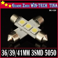 2013New arrive Free shipping 10 pcs/ 39mm 3SMD 5050 Indicator Light Car Interior Lamp Automobile Wedge LED Bulbs 3 SMD