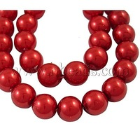 most wanted items Glass Pearl Beads Strands,  Dyed,  Round,  Red,  8mm in diameter,  hole: 1mm,  about 106pcs/strand