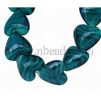 Handmade Lampwork Beads Strands,  Mother's Day Jewelry Making,  Pearlized,  Heart,  Teal,  Size: about 15mm long,  15mm wide