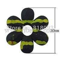Drawbench Acrylic Beads,  Rubberized Style,  Flower,  YellowGreen,  30x6mm,  Hole: 2mm
