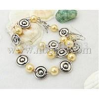 Jewelry Sets,  Bracelets and Earrings,  with Glass Pearl Beads and Tibetan Style Beads,  LemonChiffon