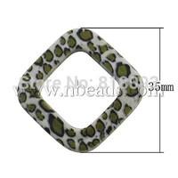Acrylic Beads,  Imitation Leopard Skin,  Rhombus,  Olive,  35x35x5mm,  Hole: 3mm
