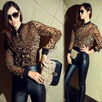 Women's Long Sleeve Fitting Leopard Grain Chiffon Shirts Blouse Tops  free shipping 13125