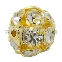 Stock Deals Brass Clear Rhinestone Beads,  Grade B,  Round,  Golden,  10mm