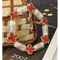 Fashion Bracelets,  with Column Lampwork Beads,  Flower Acrylic Beads and Elastic Crystal Thread,  White,  55mm