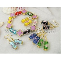 Closeout Fashion Jewelry Sets: Earrings and Bracelets,  with Column Lampwork Beads and Flower Acrylic Beads,  Colorful