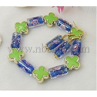 Fashion Jewelry Sets: Earrings and Bracelets,  with Column Lampwork Beads and Flower Acrylic Beads,  Blue