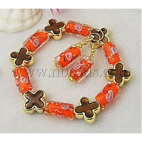 Fashion Jewelry Sets: Earrings and Bracelets,  with Column Lampwork Beads and Flower Acrylic Beads,  OrangeRed
