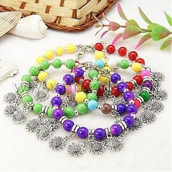 Closeout Fashion Bracelets,  with Baking Painted Glass Beads,  Tibetan Style Pendants