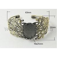 most wanted items Brass Bracelet Blanks,  Antique Bronze,  63x32mm,  Inner Diameter: 57x49mm,  Tray: 25x19mm