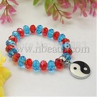 Fashion Glass Bracelets,  with Alloy Enamel Pendants,  DeepSkyBlue,  55mm