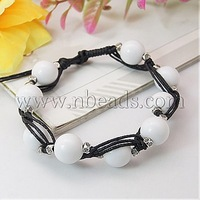 Fashion Wax Cord Bracelets,  with Acrylic Beads and Tibetan Style Beads,  White,  210mm