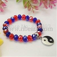 Fashion Glass Bracelets,  with Alloy Enamel Pendants,  MediumBlue,  55mm