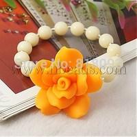 Fashion Handmade Polymer Clay Beads Bracelets,  with Acrylic Beads,  Glass Seed Beads and Elastic Crystal Thread