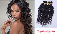 queen weave beauty ltd 100% Brazilian Virgin Hair Deep wave 3 pcs & 4pcs lot princess hair extension weft Free shiping