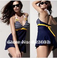Navy blue Set Padded Sailor Stripe Swimwear swimsuit Halter