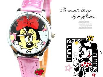 HK Post Free Shipping Red Bowknot Minnie Mouse Watch Girls Cartoon Analog Quartz Wristwatch Pink Leather Strap Reloj TWC008