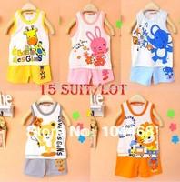 15Set/lot Cotton Baby set Children's set kid's t-shirts,girls boys t-shirt+pants,clothing set undershirt Shorts Set