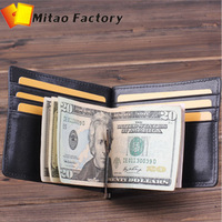 Holiday selling ! Hot Selling Casual Black Italy Vegetable Leather Travel Wallet Clip with 6 Card Holder Slots Free shipping